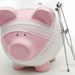 Injured piggy bank